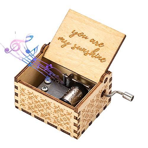 ASZKJ You Are My Sunshine Music Box Wood - Caja de música personalizable con grabado, diseño vintage de madera de sol