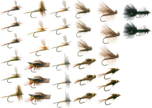 Eastern Trout Fly Fishing Flies Collection 32 Flies + Fly Box: Nymphs, Streamers and Dry Flies