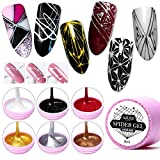AZUREBEAUTY 6 Colors Spider Gel,Matrix Gel with Gel Paint Design Nail Art Wire Drawing Nail Gel for Line,Require LED UV Nail Dryer Lamp(White Black Red Gold Silver Champagne)