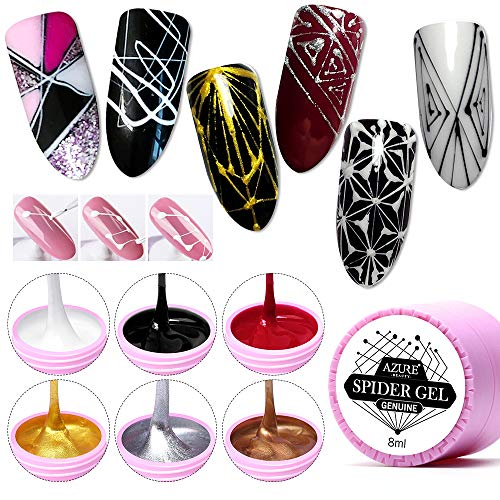 AZUREBEAUTY 6 Colors Spider Gel, Matrix Gel with Gel Paint Design Nail Art Wire Drawing Nail Gel for...