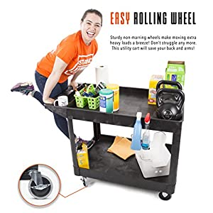 Original Tubster Extra Large - Shelf Utility Cart- Heavy Duty & Huge! - Supports up to 500 lbs! - Tub Carts w/ Deep Shelves - Great for Warehouse, Garage, Cleaning, & More! (2 Shelf XL- Black 45x25)