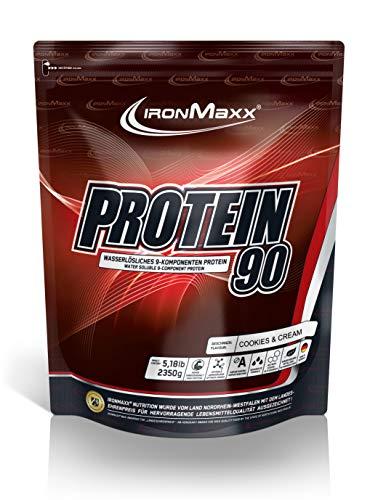 IronMaxx Protein 90 Pulver - 2350 g Beutel - Cookies & Cream - Bis zu 90% Protein (i.Tr.) - Hochwertiges Eiweißpulver für Proteinshake auf Wasserbasis - Designed in Germany