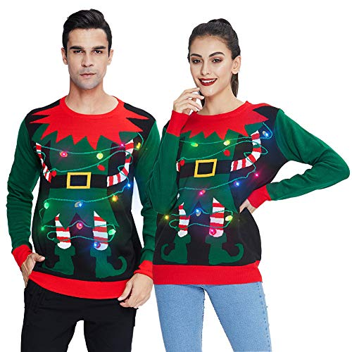 chicolife Suéter Feo navideño para Hombre Novedad Divertido Jersey navideño con Cadena de Luces LED Light Up Santa Pullover para Fiesta Halloween XXL