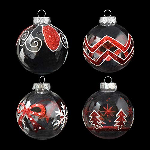 "Joiedomi 12 Pcs 3.15"" Red & Clear Christmas Ball Ornaments Fancy Ornaments Set for Christmas Holiday Indoor and Outdoor Christmas Decorations"