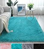 Fluffy Soft Kids Room Baby Nursery Rug, Anti-Skid Large Shaggy Fur Area Rug, Luxury Comfy Bedroom Living Room Rug Indoor Home Decor Carpet, 4 X 6 Feet, Blue