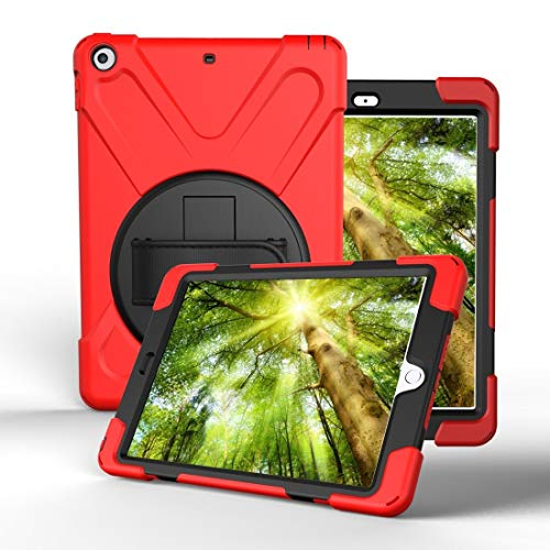 ZHENGNING Protective Case For iPad Pro10.5 / Air 10.5 2019 360 Degree Rotation PC + Silicone Protective Case with Holder & Hand-strap Smartphone Slim Cover Shell (Color : Red)
