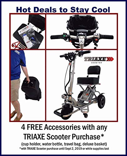 Enhance Mobility Triaxe Tour Folding 3-Wheel Mobility Scooter with Free Deluxe Basket and Soft Travel Case - Choose from 2 Colors (Blue)