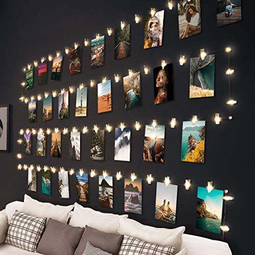 10 M 100 LED Luci per Foto,Hepside Lucine Led Decorative per Camere Appendi Luci Filo d'argento per Foto con Mollette 60 Clip Luci Decorative Interno Per Matrimonio Compleanno(Bianca Caldo)