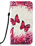 Voanice for Galaxy J3 Achieve Case Wallet,J3 2018 Case with Card Slots Stand PU Leather Flip Protective Cover for J3 Orbit /J3 Express Prime 3 / Amp Prime 3 / Sol 3/ J3 Star &Stylus-Hot Pink Butterfly