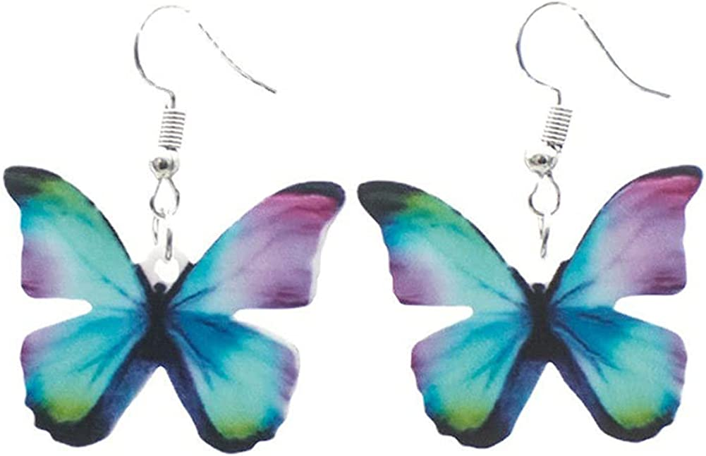 DIYANMMY Simulation Elegant Charm Acrylic Color Butterfly Dangle Drop Earrings Fashion Insect Jewelry For Women Girls