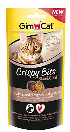 GimCat Crispy Bits Skin & Coat - Knuspriger Katzensnack ohne Zuckerzusatz mit funktionalen Inhaltsstoffen - 3 Beutel (3 x 40 g)