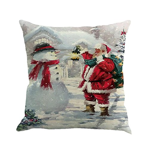 Christmas Pillow Cases, Boomboom Christmas Cotton Linen Sofa Car Home Waist Cushion Covers (E)