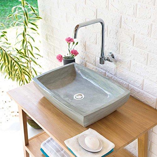 wohnfreuden Sandstein Aufsatz-Waschbecken MARA 50x35x12 cm grau rechteckig poliert