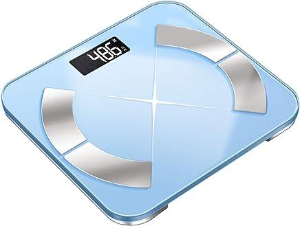 USB Rechargeable Smart Digital Bathroom Weight Electronic Scale,Tempered GlassBacklit DisplayPrecision Measurements 330 Pounds (Color : Blue)
