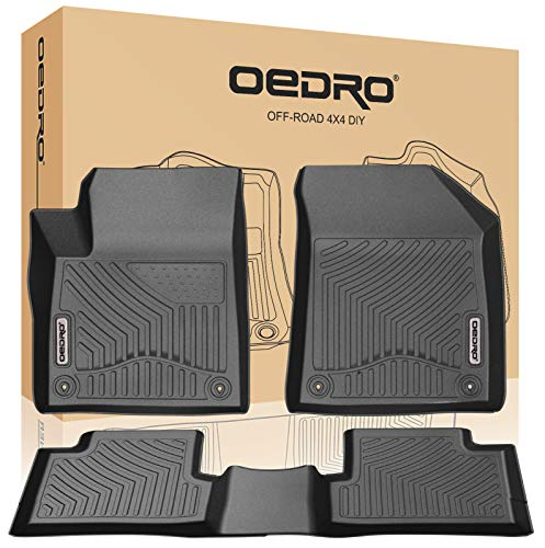 oEdRo Floor Mats Compatible for 2015-2020 Jeep Cherokee (Not for Grand Cherokee), Black TPE All-Weather Guard 1st and 2nd Row Custom Fit Liners
