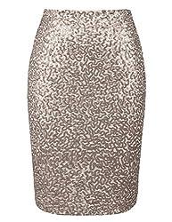 Champagne Sequin High Waist Sparkle Pencil Skirt