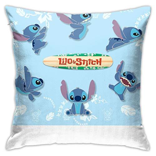 Nicegift Alice Bambi Disney Lilo y Stitch Friends Funda de Almohada de algodón Puro para sofá Suave decoración de Almohada para el hogar 18x18 Pulgadas/45x45cm