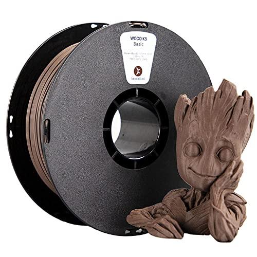 Filamento di legno 1.75 mm PLA WOOD Filamento K5 1.75 mm Filamento stampante 3D Bobina da 1 kg2.2lb, c'è un odore di legno nel processo di stampa-Marrone