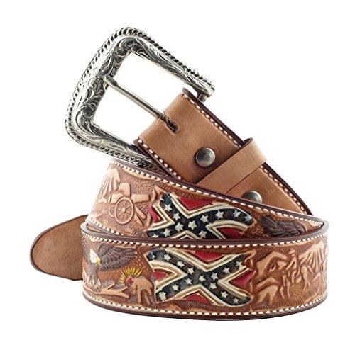 Stars & Stripes, cintura in pelle WG-12, in stile western, abbigliamento da cowboy, di colore marrone Marrone marrone