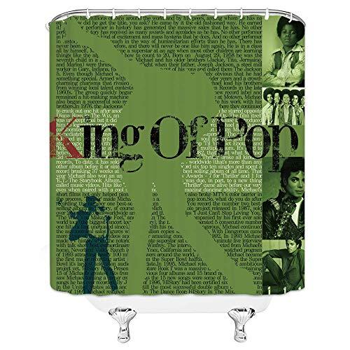 Michael Jackson Duschvorhang Klassischer Sänger Tänzer Poster King of PopBathroom Decor Wasserdichter Stoff mit 12 Haken , Grün Schwarz