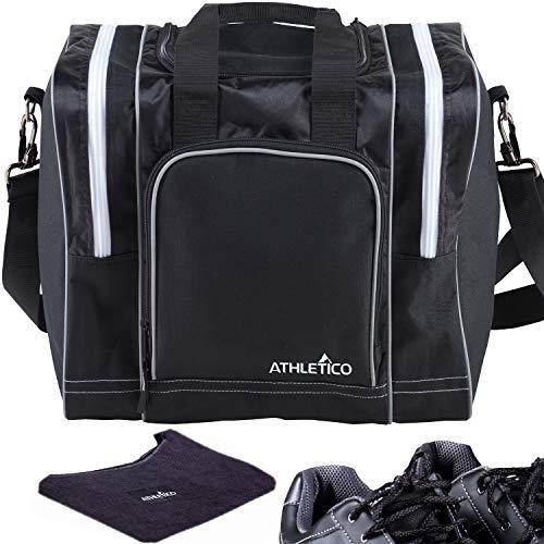 Athletico Bowling Bag & Seesaw Polisher Bundle - Einzelball-Einkaufstasche mit gepolstertem Ballhalter - Für EIN Paar Bowlingschuhe bis Herrengröße 14 (schwarz)