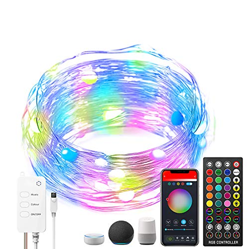 ACCEDE 16.4ft LED Fairy Lights Compatible with Alexa, 50LED RGB USB Wireless Smart App Control Fairy String Light Kit with Remote for Christmas Bedroom Party Wedding Home Garden Decorations