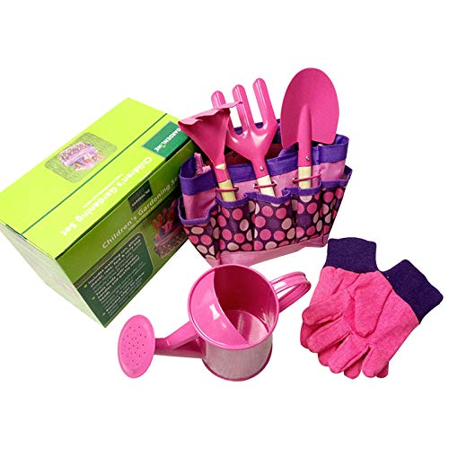 QPY Gartengeräte für Kinder, Gartenspielzeug für Kinder mit Gießkanne, Handschuhe, Harke, Schaufel, Gartenwerkzeuge für Kinder, Geschenk für Vorschule