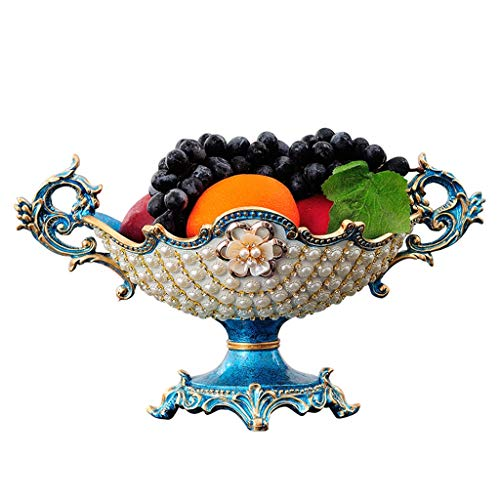 Bleu Perle Européen Créatif Haut Bol De Fruits Américain Style Salon Table Basse Décoration De La Maison Décoration De Luxe Ensemble Plateau De Stockage De La Lampe Aladdin's Lamp