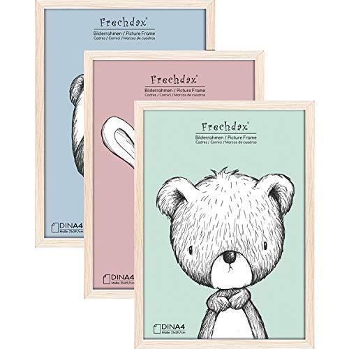 Frechdax Juego de 3 Marcos de Fotos, 21 x 30 cm, tamaño A4, Marco de Madera para habitación Infantil, póster, Color Blanco y Negro, Naturaleza, A4 (21x30cm) / 3 Stück