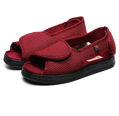 LNLJ Gesundheits-Schuh elastisch bequem,Verstellbare Klett-Stoffschuhe, verformte Knöchel-Valgus-Schuhe - Rotwein_36,Hausschuhe für zu Reha