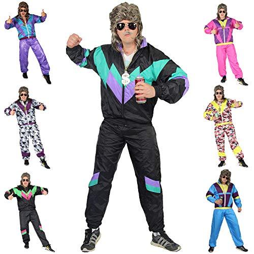 Foxxeo 80er Jahre Kostüm für Erwachsene Premium 80s Trainingsanzug Assianzug Assi - Herren Größe S-XXXXL - Fasching Karneval Anzug, Farbe schwarz-grün-lila, Größe: S