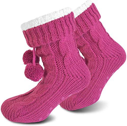 normani Damen Socken mit ABS Sohle Innenfell Extra Dicke Haussocken Anti Rutsch Sohle Farbe Magenta Pink Größe 40/44