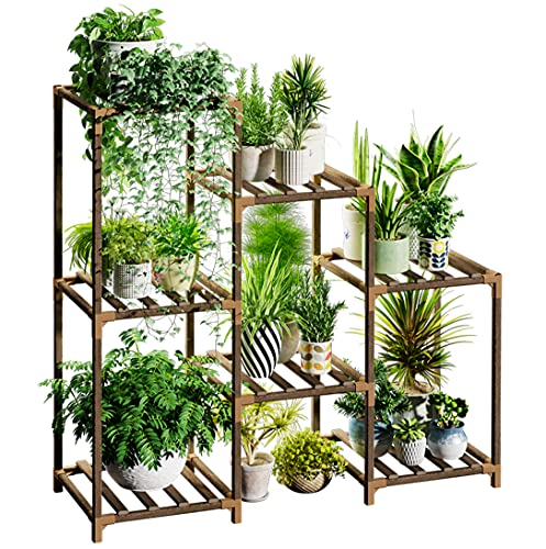 Bamworld Plant Stands for Indoor Plants, Wood Outdoor Tiered Plant Shelf for Multiple Plants, 3 Tire 7 Potted Ladder Plant Holder Table Plant Pot Stand for Window Garden Balcony Living Room