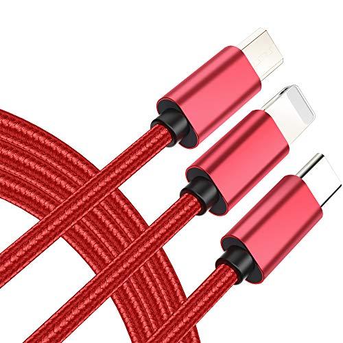 AMY USB-Schnellladekabel, 3-In-1-Premium-Nylon-Geflecht-Typ C/Micro-USB-Anschluss Für Telefon X 8 / 7Plus Samsung S8 Huawei LG Kindle-Tablets Und Mehr (4Ft)