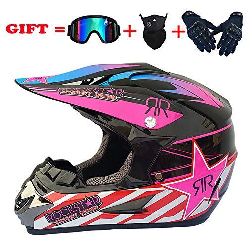 NKFDLY Motocross Helm Crosshelm mit Brille Handschuhe Maske Vier Jahreszeiten Unisex, Motorradhelm DH Enduro Quads Motorrad Offroad-Helm für Erwachsene Männer Frauen (B,S)