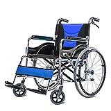 YQTXDS Silla de Ruedas Plegable Liviana Aluminio Cómodo Transporte Silla autopropulsada de Viaje con Mano (Silla de Ruedas)