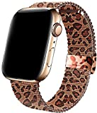 MIGZOE Compatible with Apple Watch Band 42mm 44mm for Women Girls, Adjustable Stainless Steel Mesh Sport Wristband for Smartwatch Series 6/5/4/3/2/1, SE (Brown Leopard)