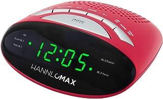 "HANNLOMAX HX-116CR Alarm Clock Radio, PLL AM/FM Radio, Dual Alarm, 0.6"" Green LED Display, AC/DC Adaptor Included (Red)"