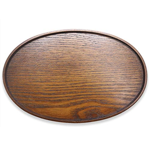 Solid Wood Serving Tray Oval Non-Slip Tea Coffee Snack Plate Food Meals Serving Tray with Raised Edges for Home Kitchen Restaurant10x65 inch Brown