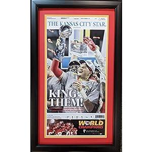 Framed Kansas City Star Chiefs King Them Super Bowl LIV 54 Champions 17x27 Football Newspaper Cover Photo Professionally Matted