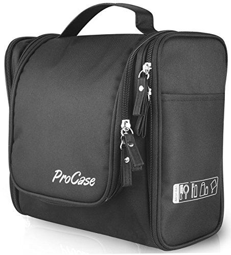 ProCase Toiletry Bag with Hanging Hook, Organizer for Travel Accessories, Makeup, Shampoo, Cosmetic, Personal Items, Bathroom Storage with Hanging, Large, Black