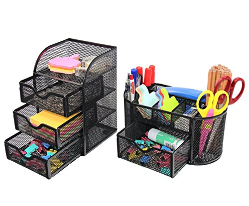 PAG Office Supplies Desktop Organizers and Accessories Storage Caddy with Drawer Mesh Pencil Holder Set for Women Girls, Black