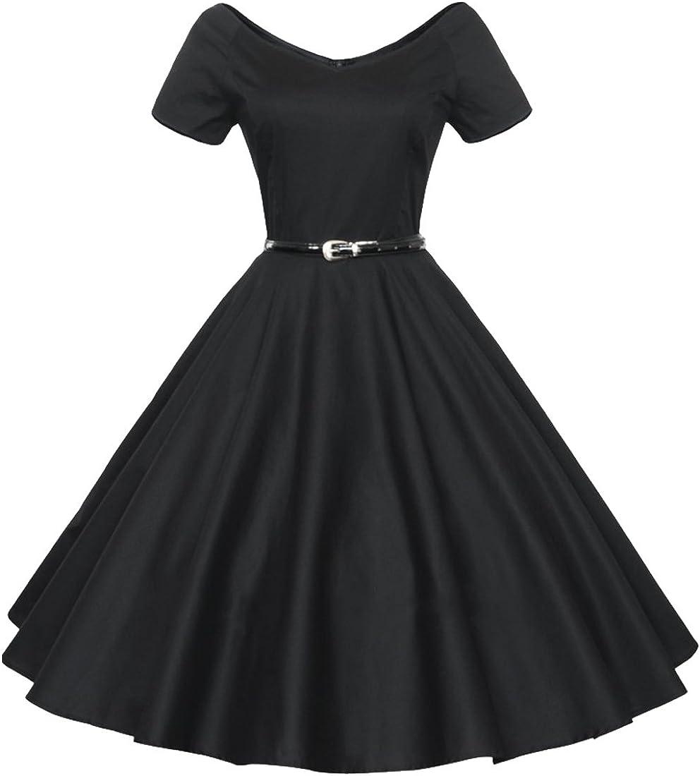 Oyza9pe Women's Vintage 1940s 50s Shirtwaist Flared Swing Skaters Dress