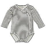 Pinokio - Happy Day- Baby Wickelbody 100% Baumwolle, Schwarz Weiß gestreift - Body - Langarmbody mit Druckknöpfen Mädchen Jungen Unisex Streifen (56)