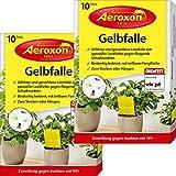 Aeroxon – Gelbfalle – Gelbtafeln – 20 Gelbsticker, große Klebefläche, perfekt gegen Ungeziefer, Zuhause und auf dem Balkon – Gegen Trauermücken, Blattläuse, Minierfliegen und weiße Fliegen