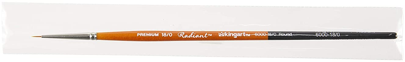 KINGART 6000-18/0 TAKLON Round Paint Brush, 18/0, Black/Silver/Orange