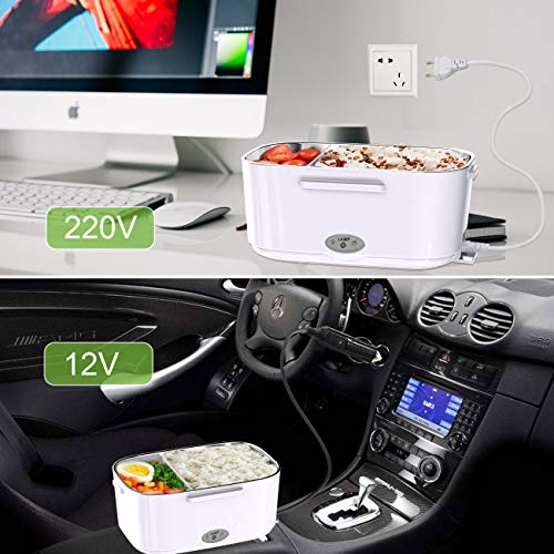 ERAY Fiambrera Eléctrica 2 en 1 para Coche y Trabajo, 1.5L Calentador de Comida 220V &12V, Material de Grado Alimento y Acero Inoxidable Extraíble, Color Verde