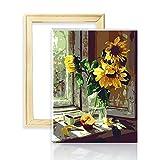 decalmile Pintura por Número de Kits DIY Pintura al óleo para Adultos Niños Girasol Caliente 16'X 20' (40 x 50 cm, con Marco de Madera)
