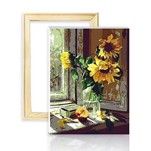 "decalmile Pintura por Número de Kits DIY Pintura al óleo para Adultos Niños Girasol Caliente 16""X 20"" (40 x 50 cm, con Marco de Madera)"