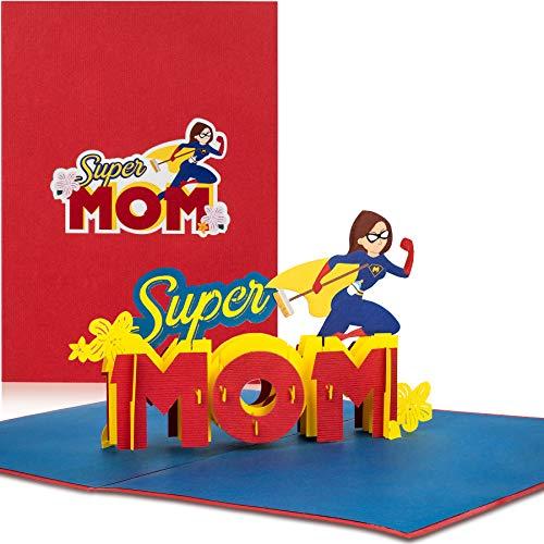 """PaperCrush® Pop-Up Karte Muttertag """"Super Mom"""" - Lustige 3D Muttertagskarte, Geburtstagskarte für die beste Mama der Welt - Glückwunschkarte zur Geburt, Geburtskarte für Mutter, Glückwunsch zum Baby"""